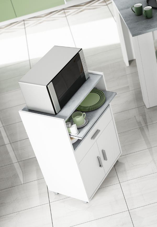 CAESAROO Armoire micro-ondes 92 cm Blanc Matt et Ciment avec deux portes et un tiroir   Blanc