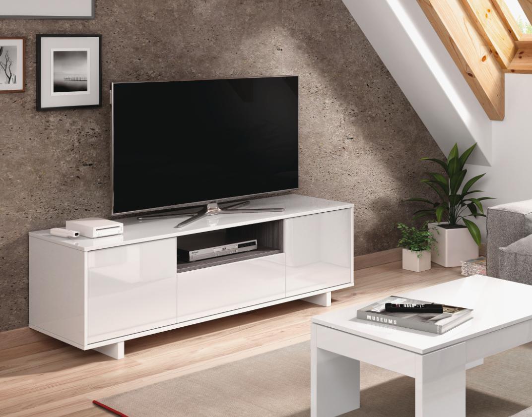 CAESAROO Meuble TV de salon 150 cm blanc brillant et gris cendré avec trois portes   Couleur