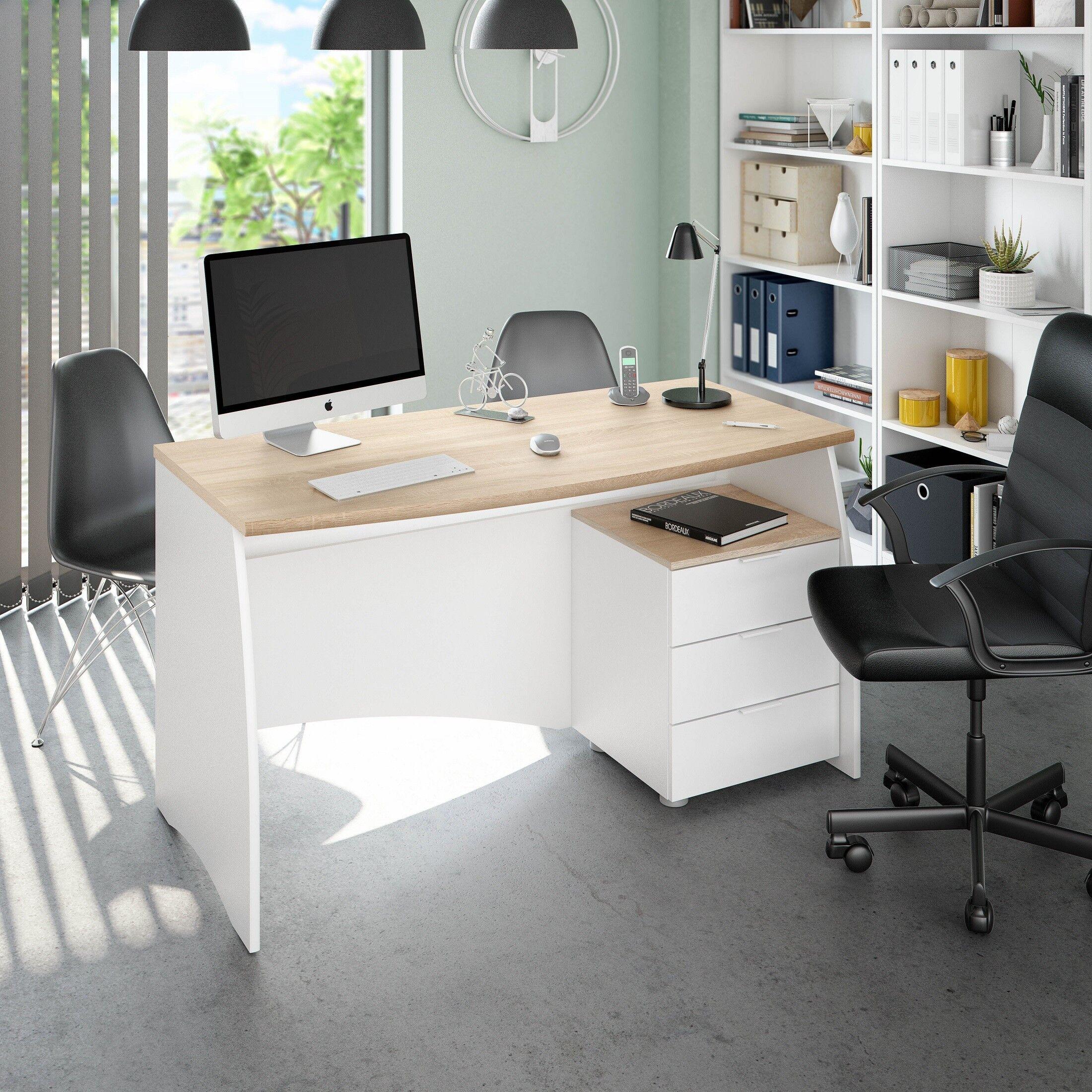 CAESAROO Bureau 136x67 cm Blanc mat et chêne canadien avec trois tiroirs   Chêne clair/blanc