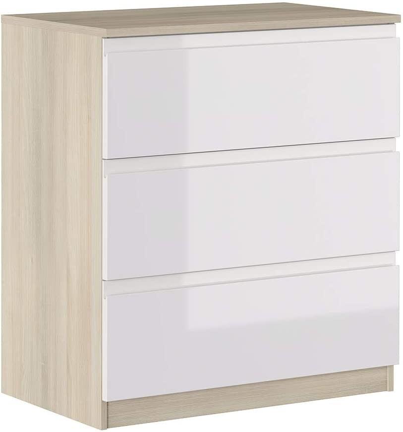 CAESAROO Commode 87 cm Blanc brillant et chêne avec 3 tiroirs série Oslo   chêne et blanc