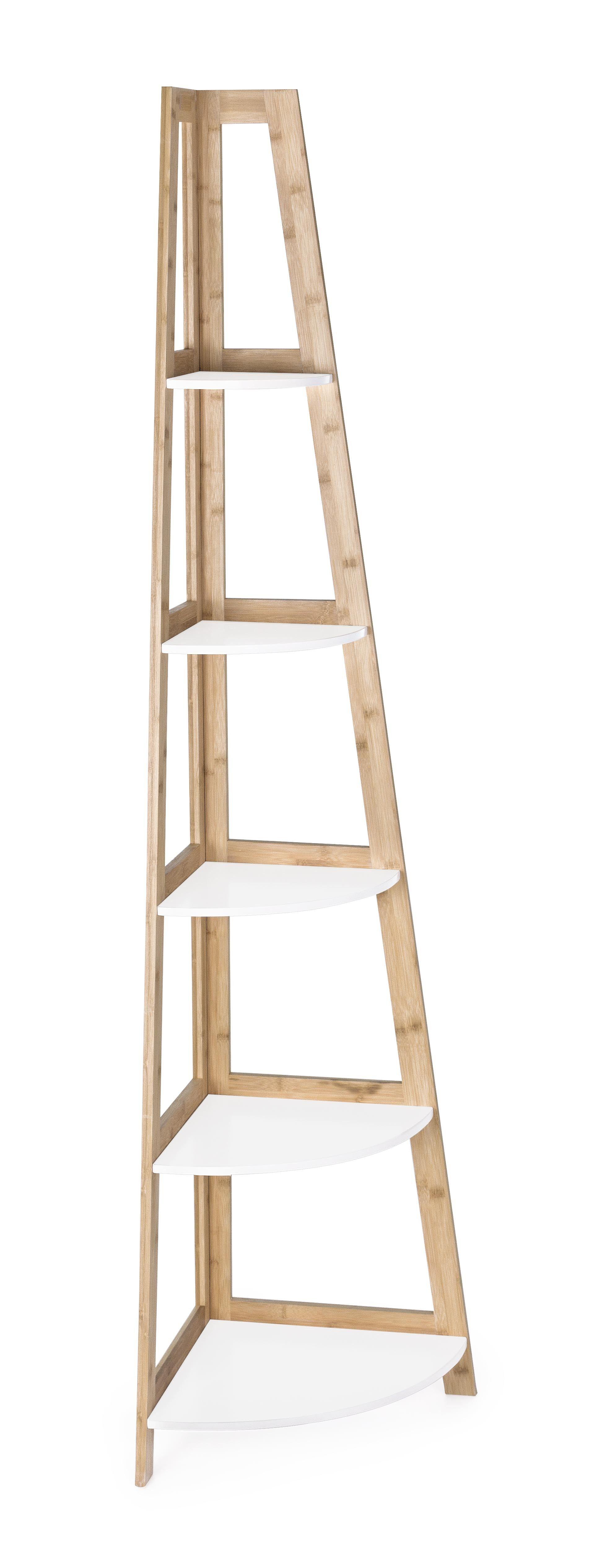 CAESAROO Bibliothèque d'angle 180 cm avec structure en bois de bambou et 5 étagères couleur Blanc mat   Blanc