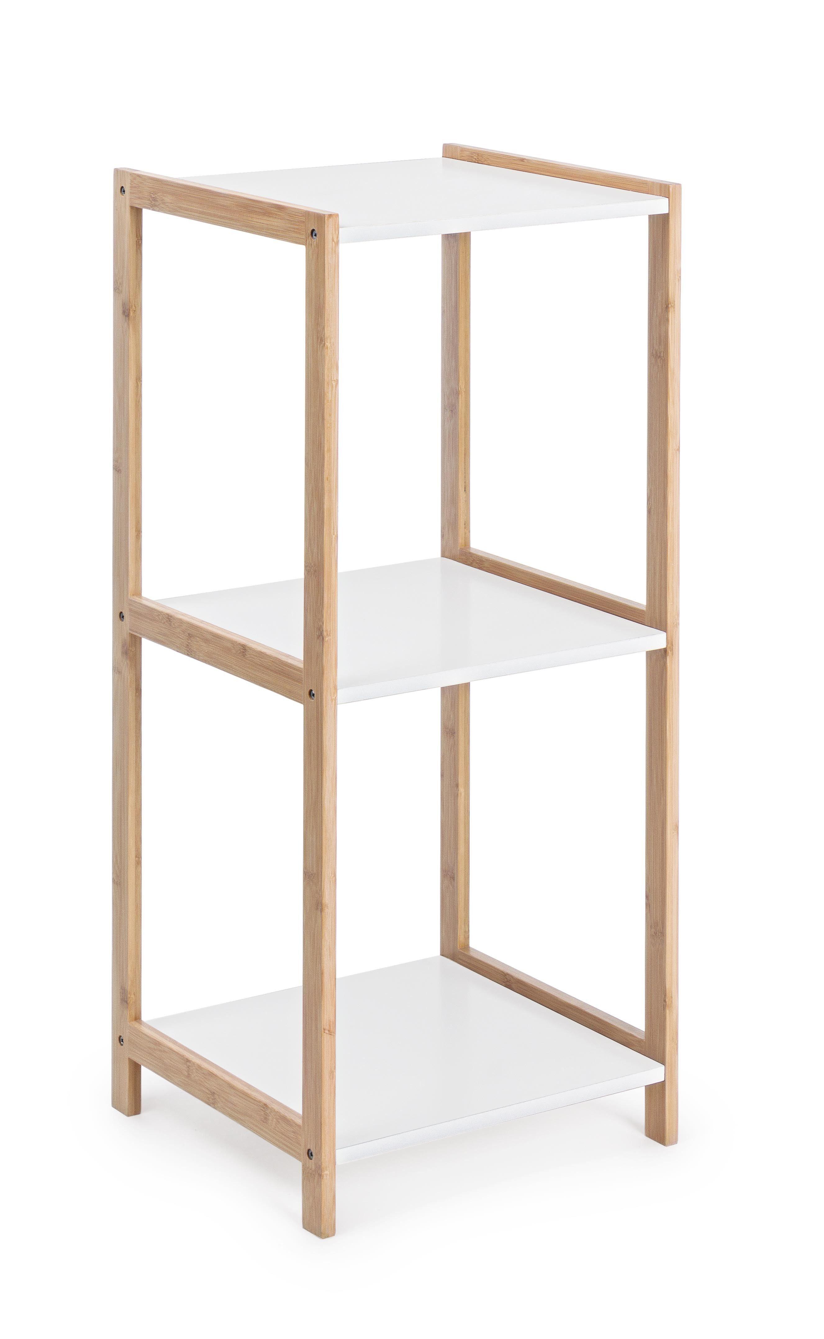 CAESAROO Étagère 79 cm avec structure en bois de bambou et 3 plateaux couleur blanc mat   Blanc