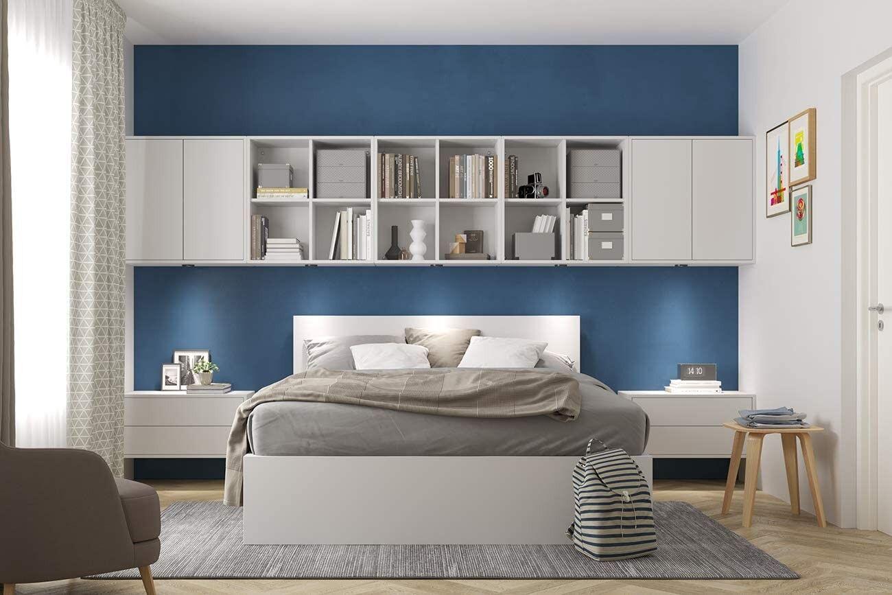 CAESAROO Set de chambre à coucher 375 cm blanc mat série Lisbona   Blanc