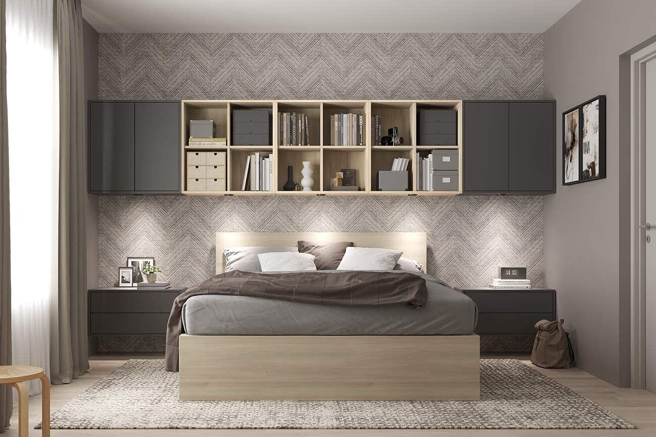 CAESAROO Set de chambre à coucher 375 cm Gris foncé et chêne série Lisbona   Gris foncé