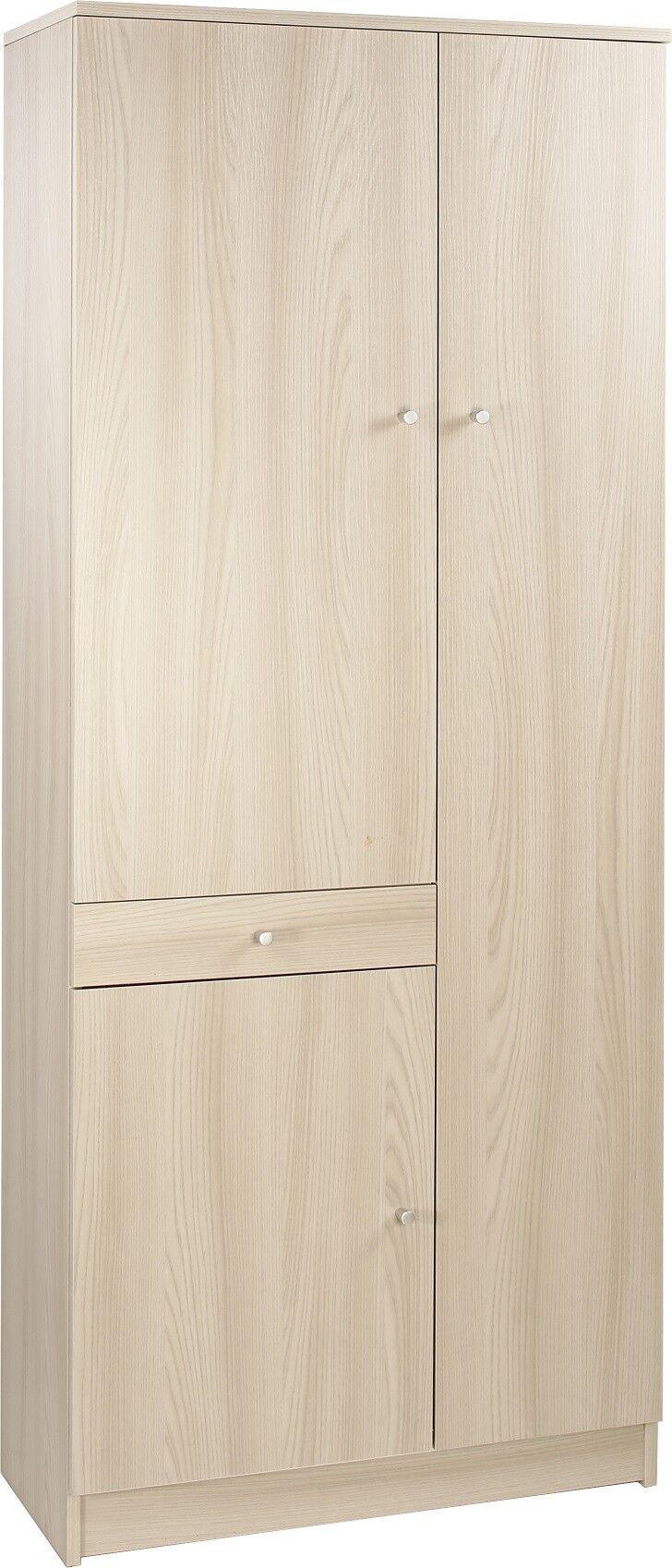 CAESAROO Armoire 77xH183 cm Orme clair avec trois portes et un tiroir   Elm