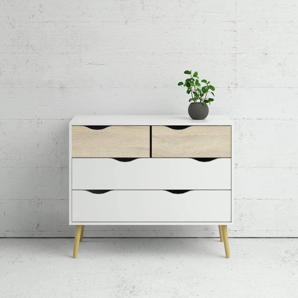 CAESAROO Commode 82 cm Blanc mat et Chêne avec 4 tiroirs   chêne et blanc