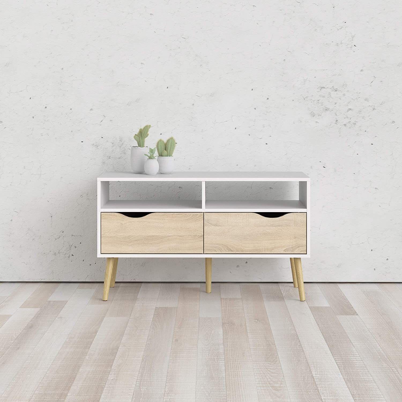CAESAROO Meuble TV de salon 99 cm Chloe Blanc mat et Chêne avec deux tiroirs   chêne et blanc