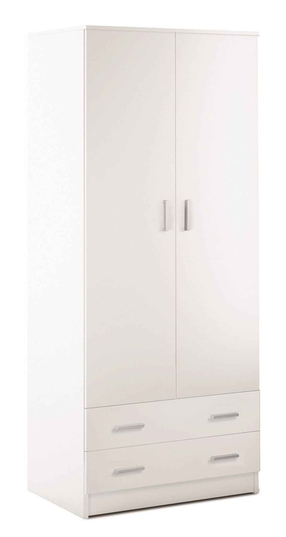 CAESAROO Armoire 77xH182 cm blanc mat avec deux portes et deux tiroirs   Blanc