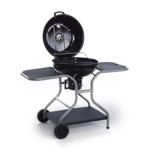 CAESAROO Barbecue charbon de bois en acier avec roues   noir - Publicité
