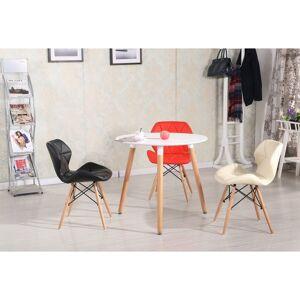 CAESAROO Table ronde Ø 80 cm Blanc mat avec pieds en bois de hêtre   Blanc - Publicité