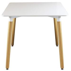 CAESAROO Table 80x80 cm Blanc mat avec pieds en bois de hêtre   Blanc - Publicité