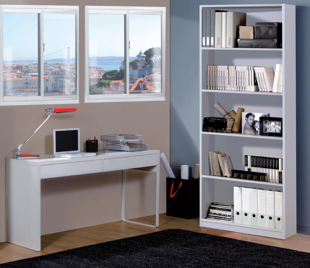 CAESAROO Bureau 138x50 cm Blanc mat avec deux tiroirs   Blanc