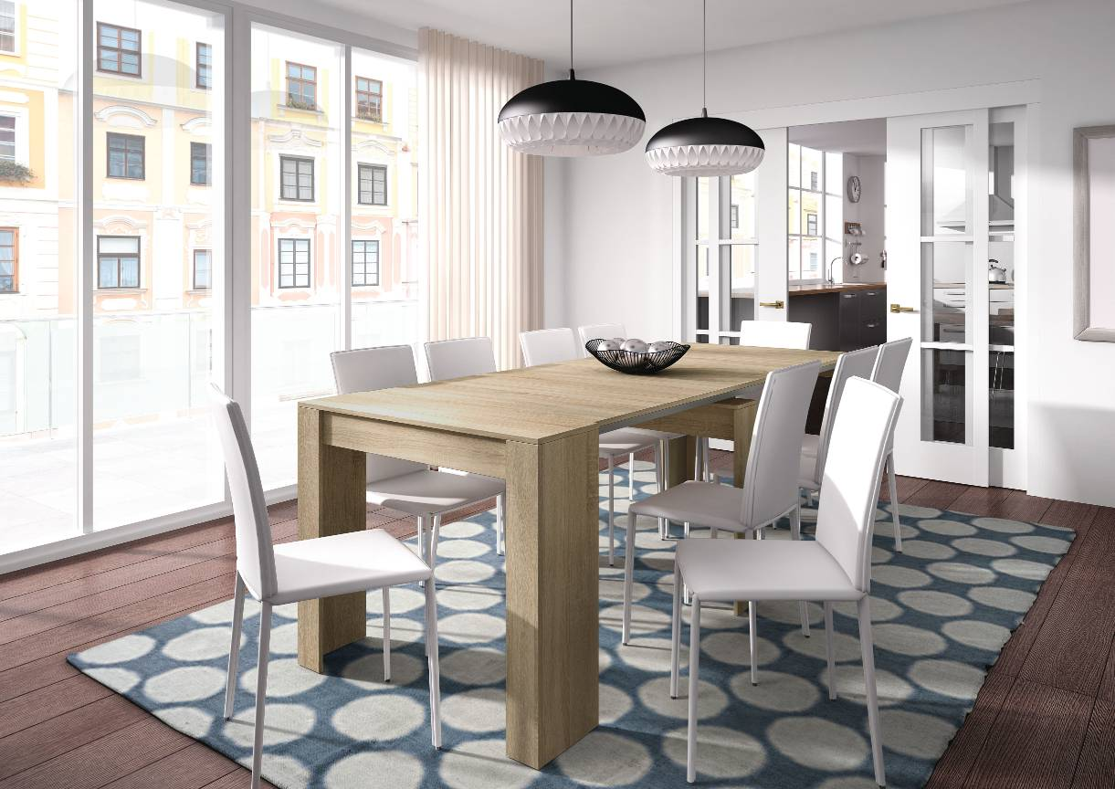 CAESAROO Table multifonctions extensible de 51 à 237 cm Roble canadian   Roble Canadian