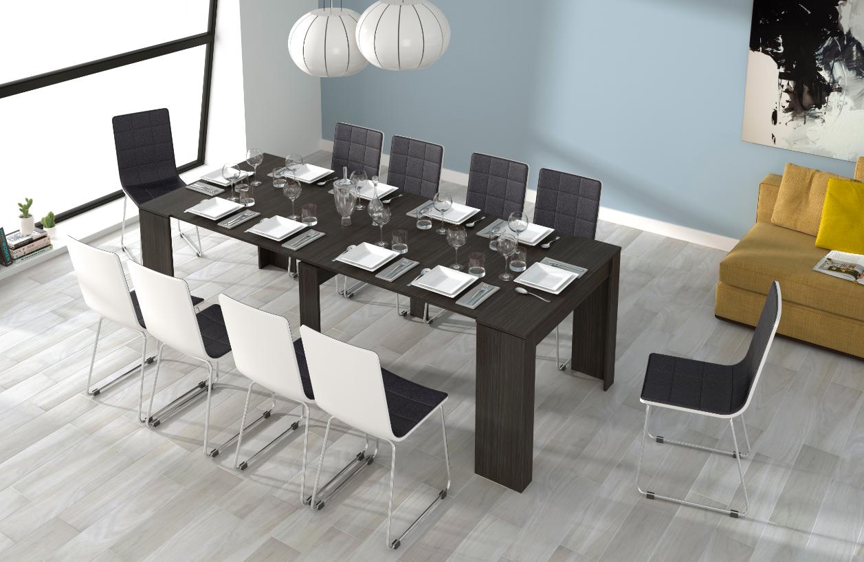 CAESAROO Table multifonctions extensible de 51 à 237 cm Gris cendre   Gris cendré
