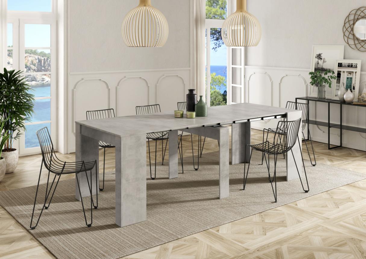 CAESAROO Table multifonctions extensible de 51 à 237 cm Ciment   Ciment