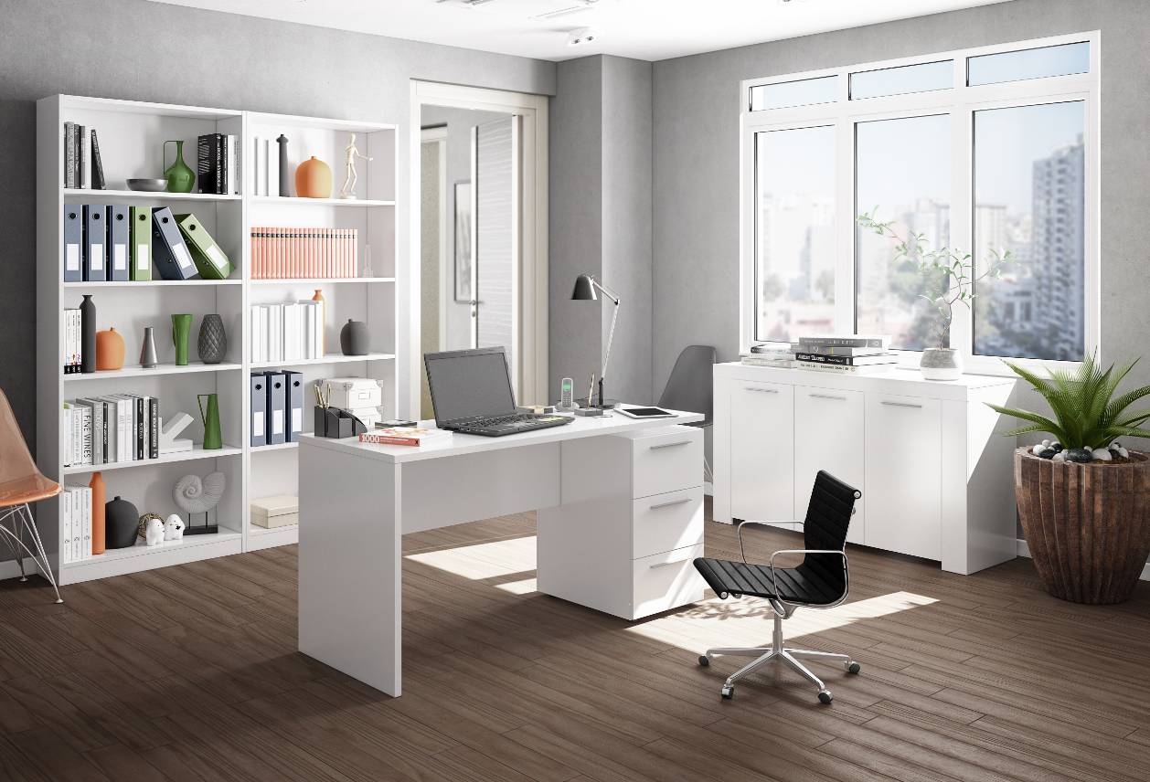 CAESAROO Bureau 138x60 cm Blanc mat avec trois tiroirs   Blanc
