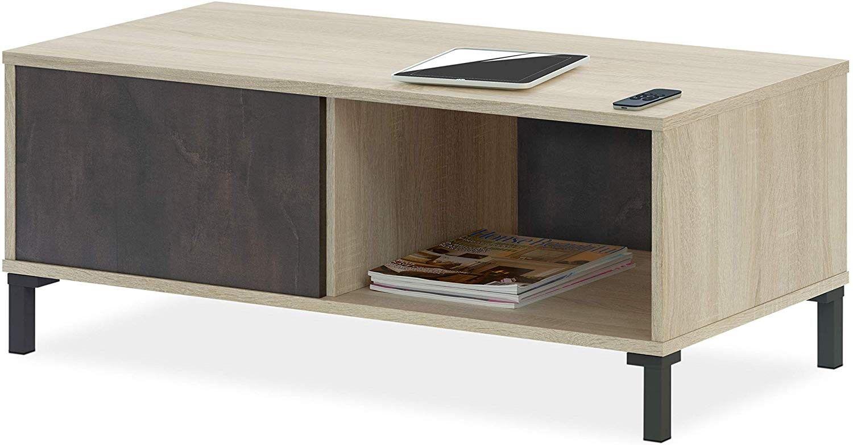 CAESAROO Table basse de salon 100x50 cm Oxyde et Roble Canadien   oxyde et roble canadian
