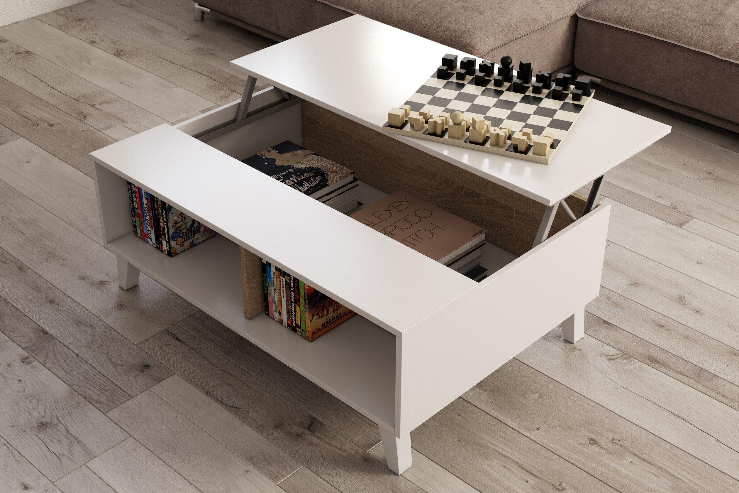 CAESAROO Table basse 100x68 cm blanc brillant et chêne canadien avec plateau relevable   chêne et blanc