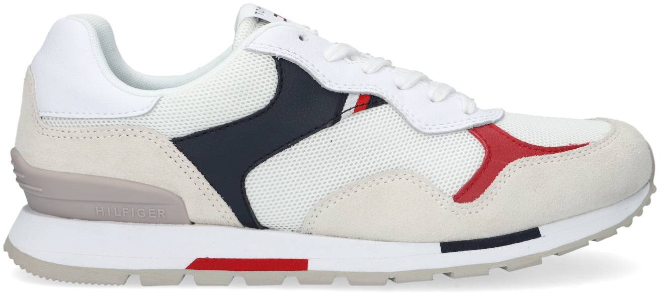 Tommy Hilfiger Baskets Basses Retro Runner Mix En Blanc Homme - 40;41;42;43;44;45;46