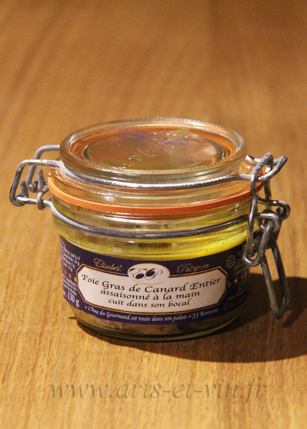 Foie Gras et Epices Foie gras de canard entier assaisonné à la main et cuit dans son bocal - 130g