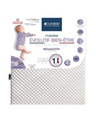 Candide Matelas bébé 70x140cm Évolutif bien-être déhoussable
