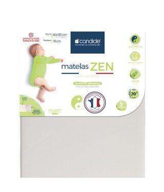 Candide Matelas bébé 60x120cm Zen déhoussable