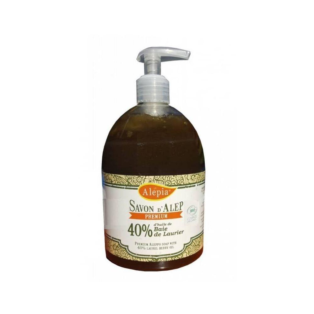 Alépia Savon d'Alep liquide – Premium 40% laurier Bio 500ml – Visage et peaux sensibles - Alépia