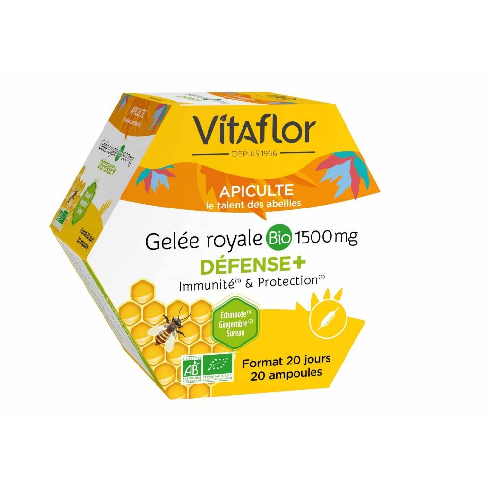 Vitaflor Gelée Royale Bio Défense+ - 20 Ampoules - Immunité & protection - Vitaflor
