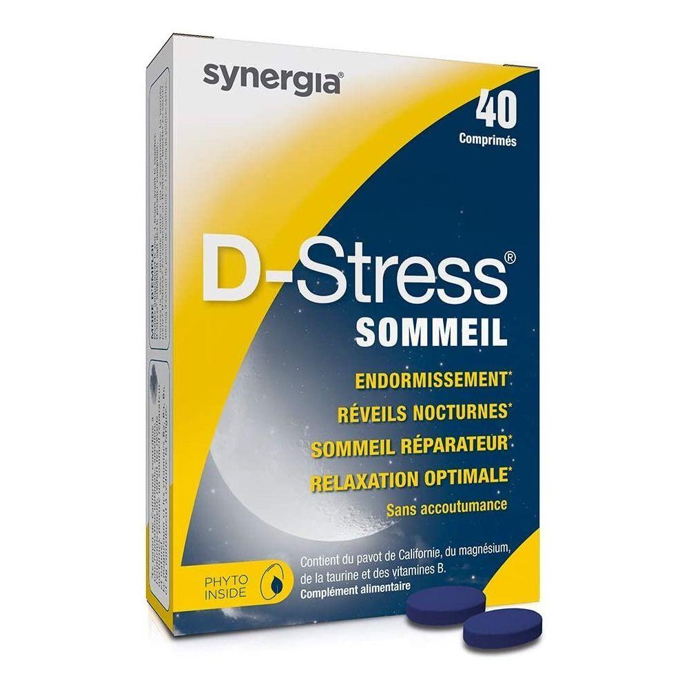 Synergia D-Stress Sommeil – 40 Comprimés - Agit contre les réveils nocturnes - Synergia