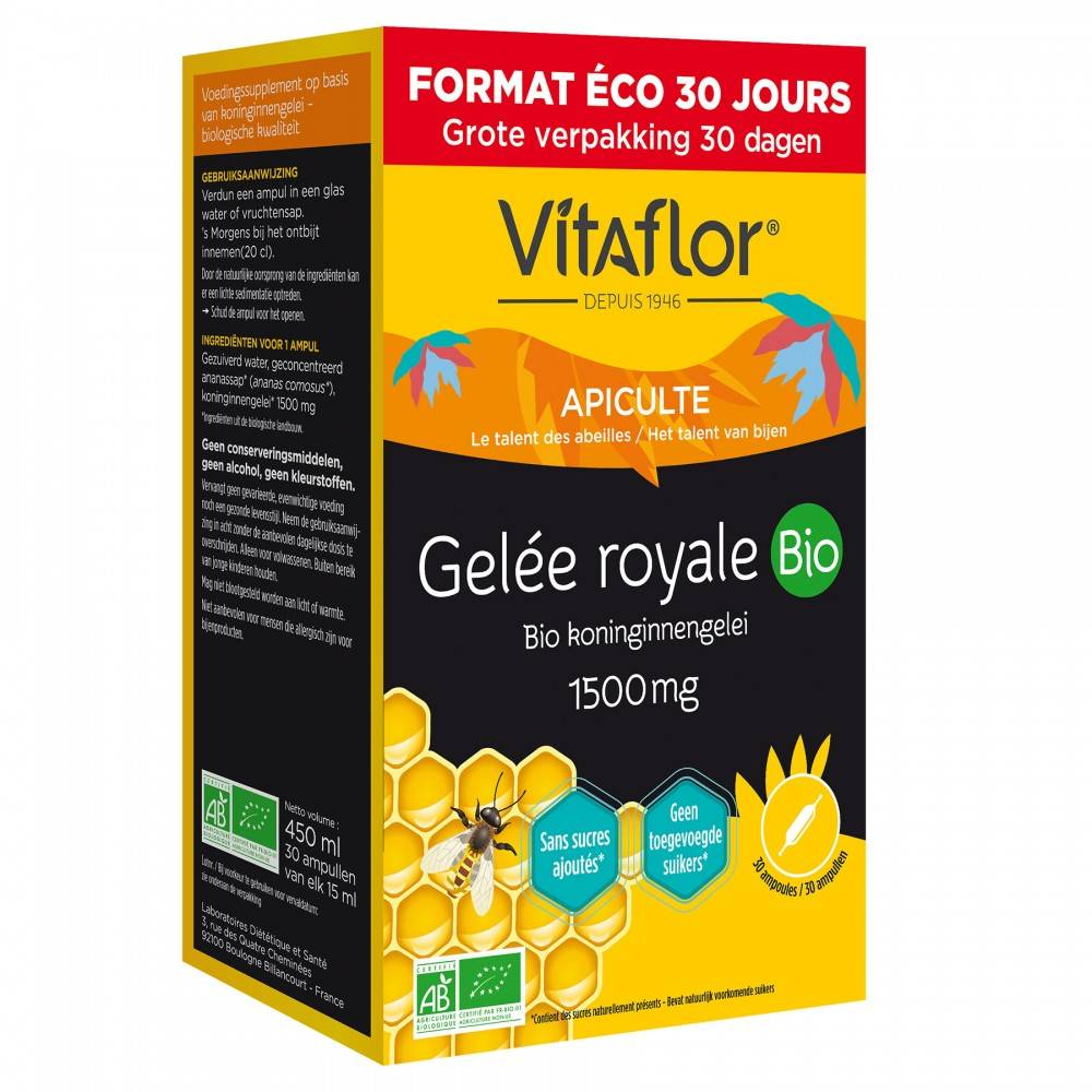Vitaflor Gelée Royale Bio 1500 mg – 30 Ampoules - Pack Eco 30 jours - Vitaflor