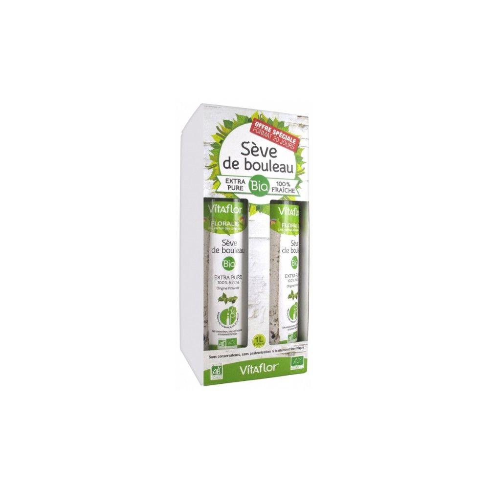 Vitaflor Sève de bouleau Bio -  Pack 4X250ml - Format 20 jours - Extra pure 100% fraîche - Vitaflor
