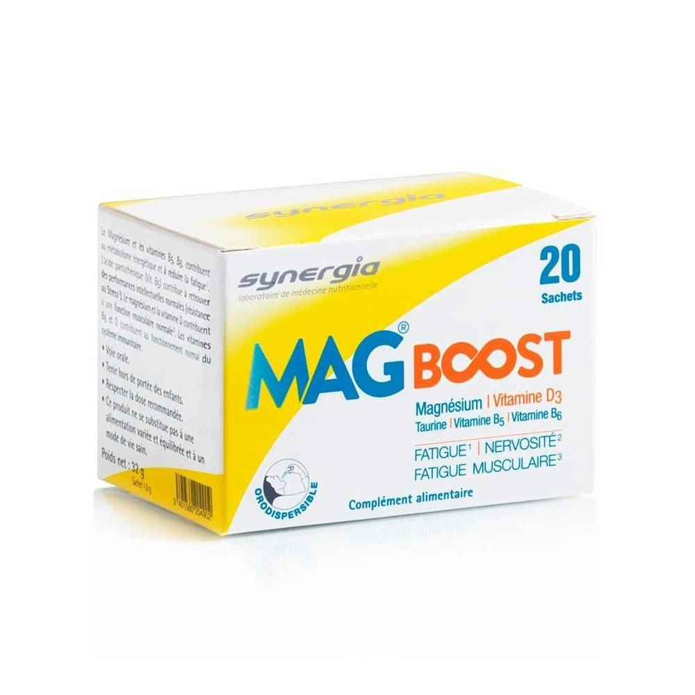 Synergia MagBoost – 20 Sachets - Contre la Fatigue physique ou musculaire - Synergia
