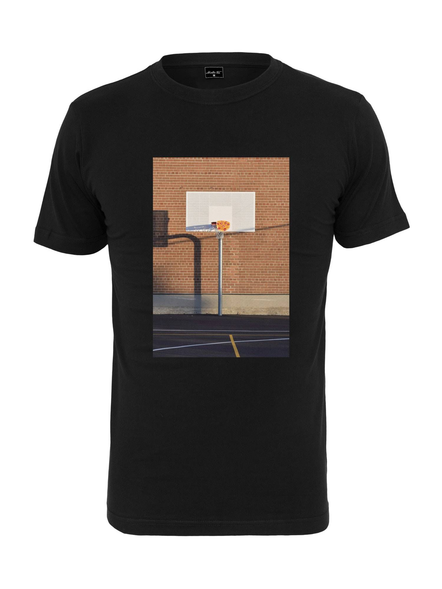 Tee T-Shirt 'Pizza Basketball Court'  - Noir - Taille: M - male