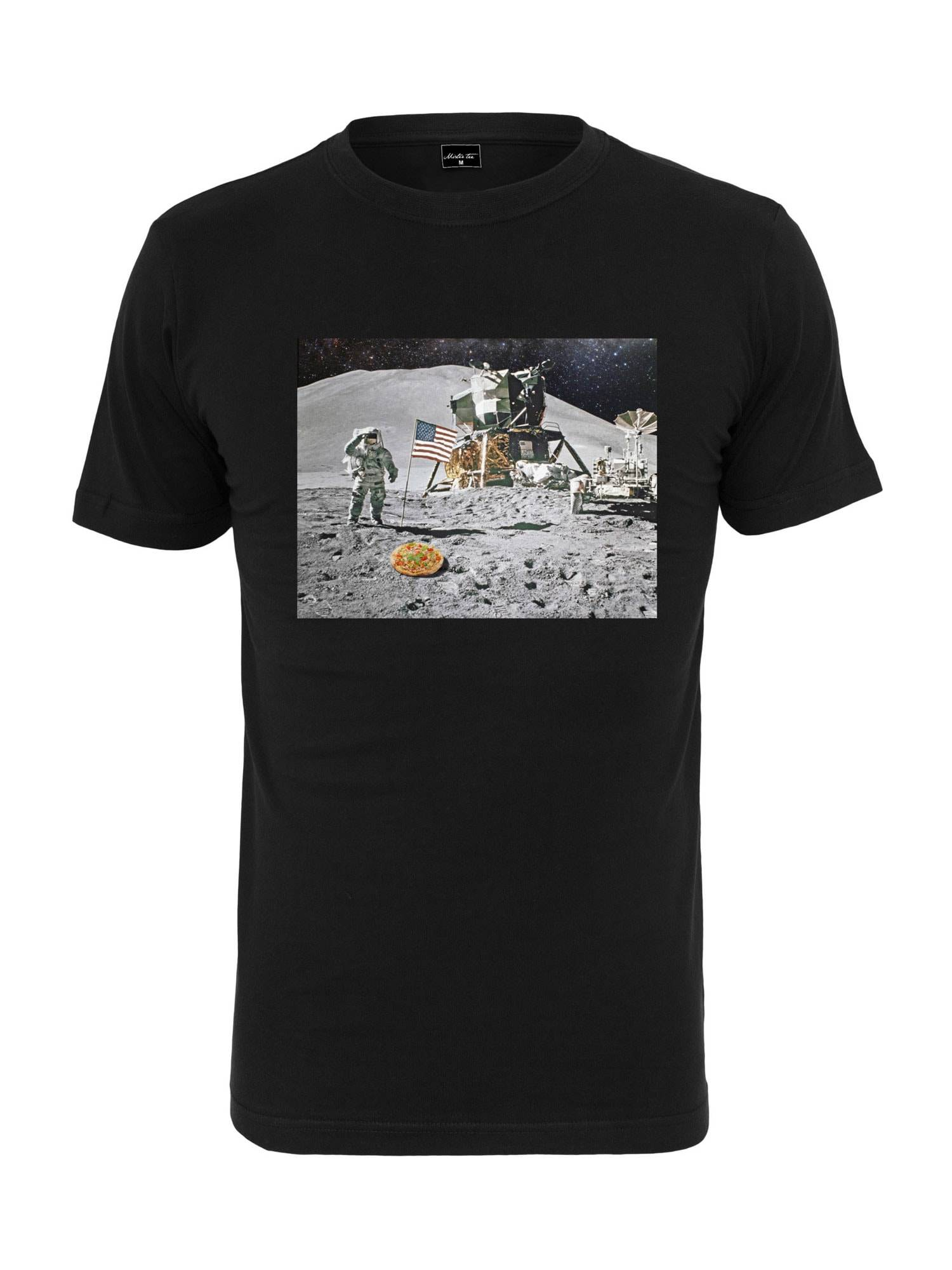 Tee T-Shirt 'Pizza Moon Landing'  - Noir - Taille: XL - male