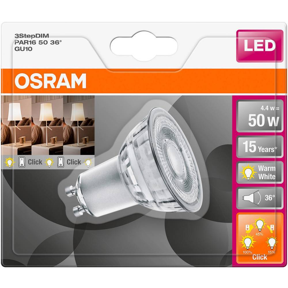 OSRAM LED GU10 OSRAM LED THREE STEP DIM PAR16 50 36° 4.4 W/2700K GU10 4058075264250 5 W blanc chaud (Ø x L) 50.0 mm x 54.0 mm 1 pc(s)
