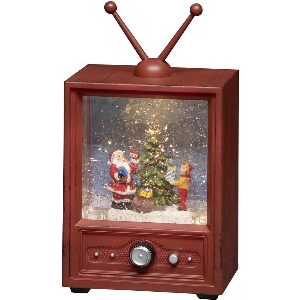 Konstsmide 4372-000 téléviseur avec Père-Noël et enfant blanc chaud LED multicolore alimentation au choix, enneigé, rempli deau, avec chants de Noël