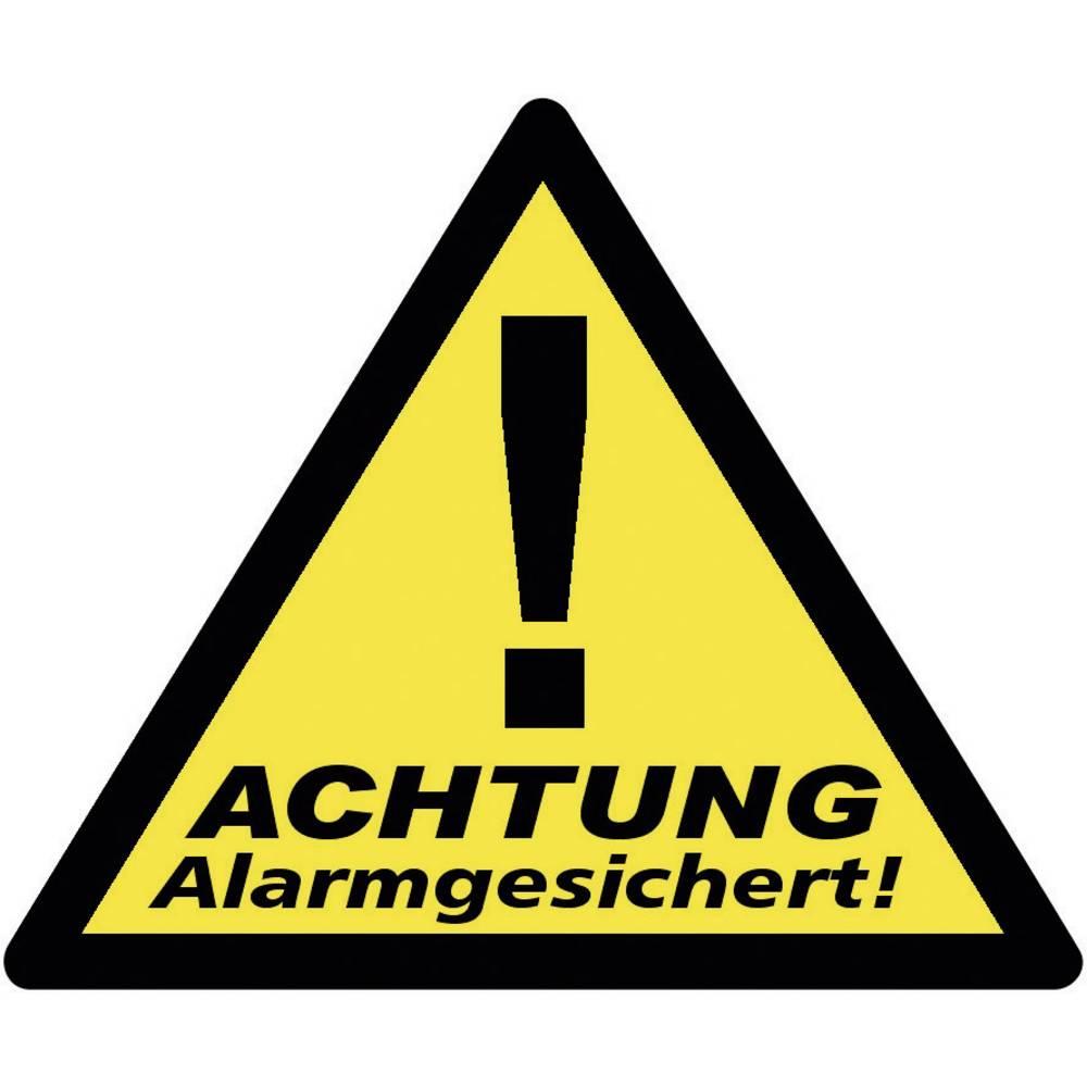 PENTATECH Lot de 3 étiquettes Sécurisé par alarme PENTATECH 40201 jaune, noir (l x H) 85 mm x 70 mm