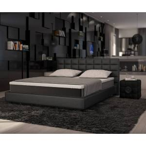 DELIFE Lit Junis 180x200 noir matelas et sur-matelas lit à sommier tapissier - Publicité