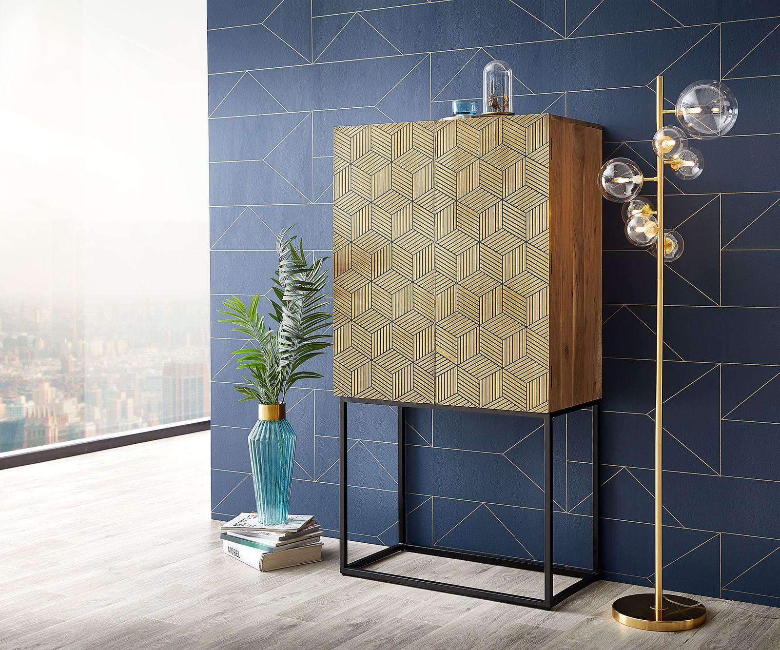 DELIFE Buffet-haut Oro 151x80x40 acacia placage cuivre naturel Cubes doré