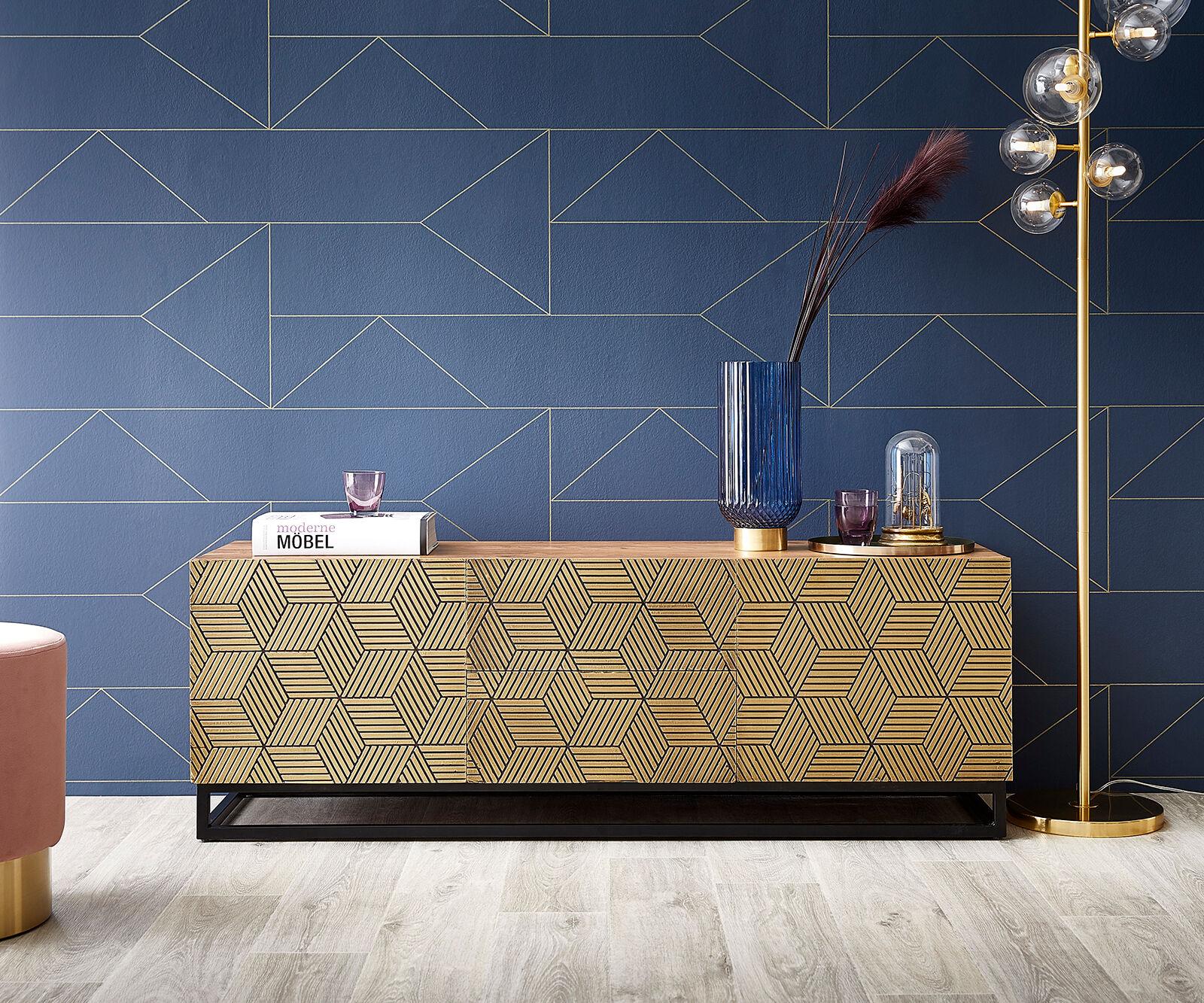 DELIFE Meuble-TV Oro 140x40x49 cm acacia placage cuivre nature cubes doré
