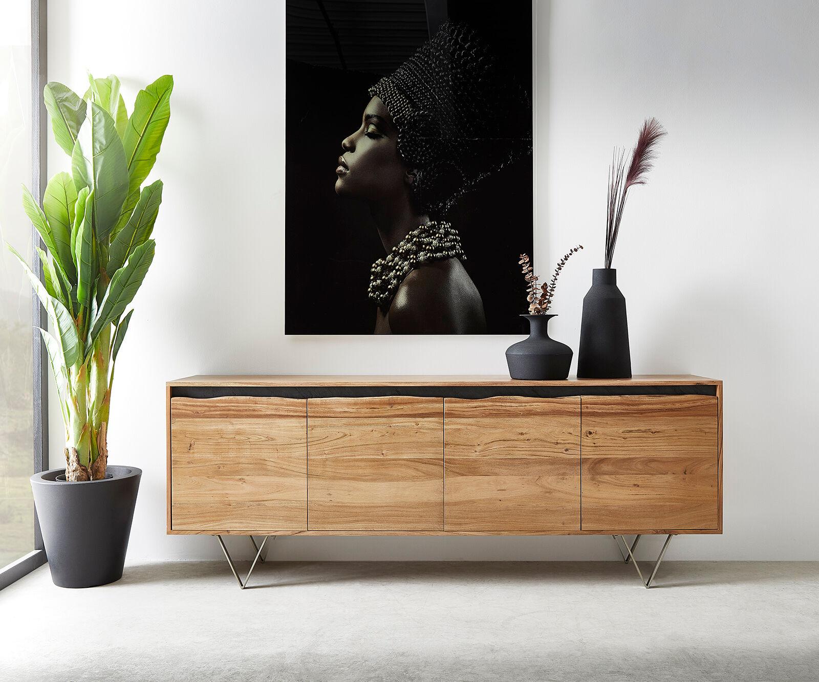 DELIFE Commode Stonegrace 200x45 cm acacia nature 4 portes tronc d'arbre