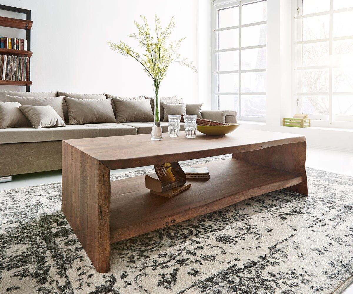 DELIFE Table-basse Live-Edge 130x60 cm acacia marron tronc d'arbre
