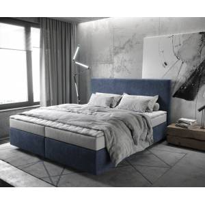 DELIFE Lit-à-sommier-tapissier Dream-Well 180x200 cm microfibre bleu marine - Publicité