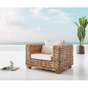 DELIFE Fauteuil-lounge  Nice en rotin naturel avec coussin blanc - Publicité