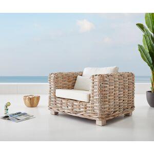 DELIFE Chaise-longue  Nizza 103x95 rotin blanc délavé avec coussin blanc - Publicité