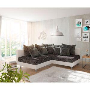 DELIFE Canapé-d'angle Clovis blanc noir ottoman droite modulaire - Publicité