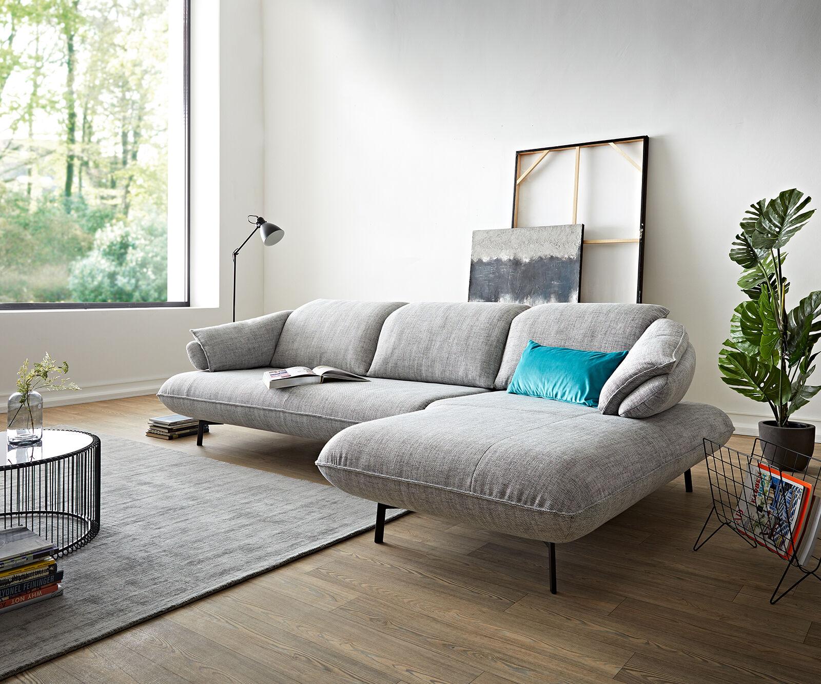 ES brand Canapé-d'angle Bluebell 292x190 gris pierre chaise longue réglage de la...