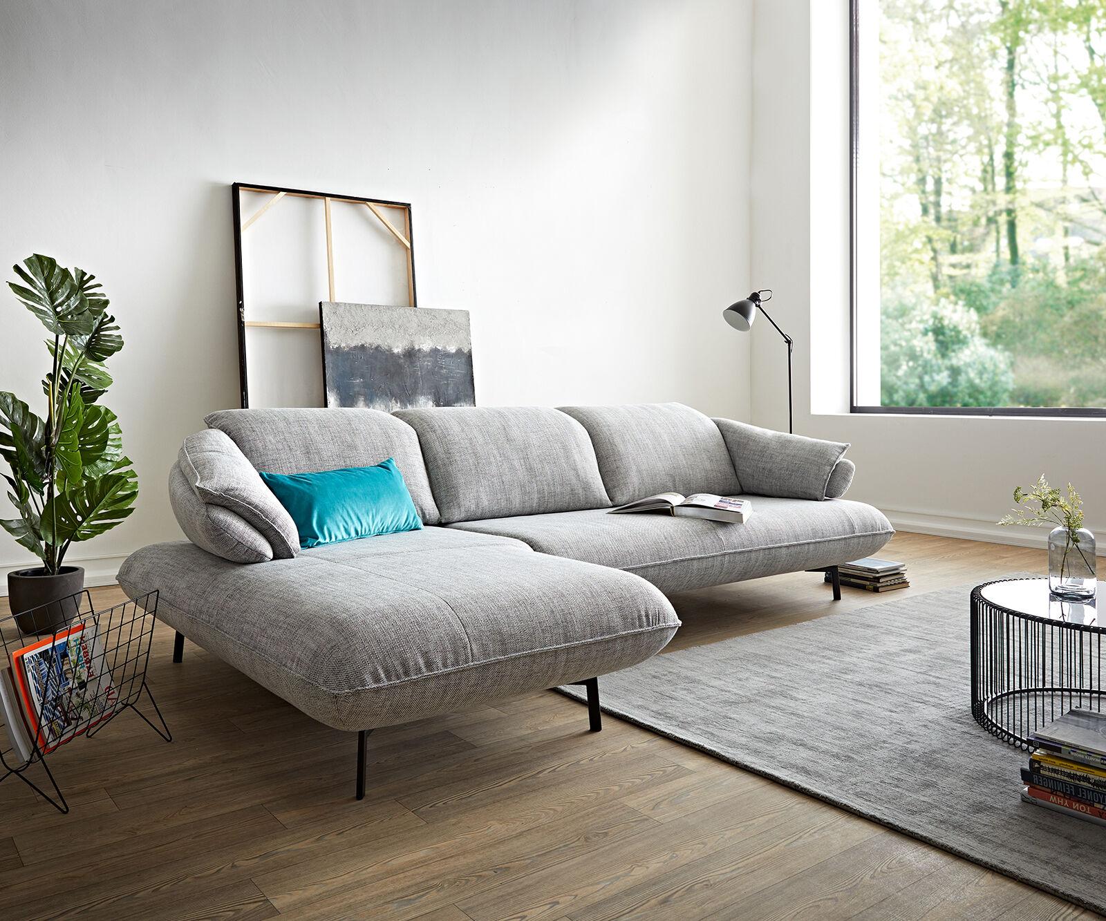 ES brand Canapé-d'angle Bluebell 292x190 gris pierre chaise longue à gauche réglage de...