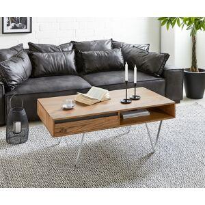DELIFE Table-basse Stonegrace 115x60 cm acacia nature 2 compartiments - Publicité