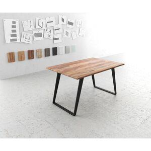 DELIFE Table-à-manger Edge 140x90 sheesham nature métal incliné - Publicité